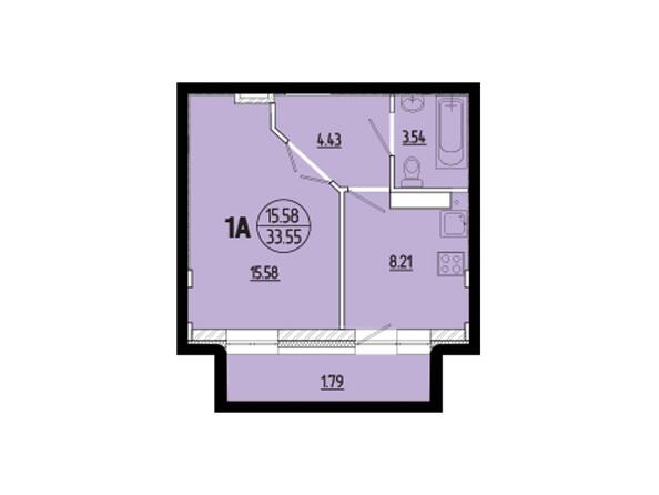 Планировки новостроек ЭВОЛЮЦИЯ ж/к, 1 оч, б/с 2-8 - Планировка однокомнатной квартиры 33,55 кв.м