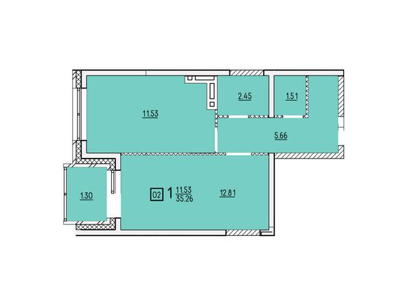 Планировки новостроек УСПЕНСКИЙ-2 ж/к, 2 оч - Планировка однокомнатной квартиры 35,62 кв.м