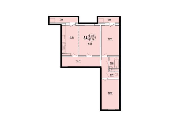 Планировки новостроек ЭВОЛЮЦИЯ ж/к, 1 оч, б/с 2-8 - Планировка трехкомнатной квартиры 76,22 кв.м