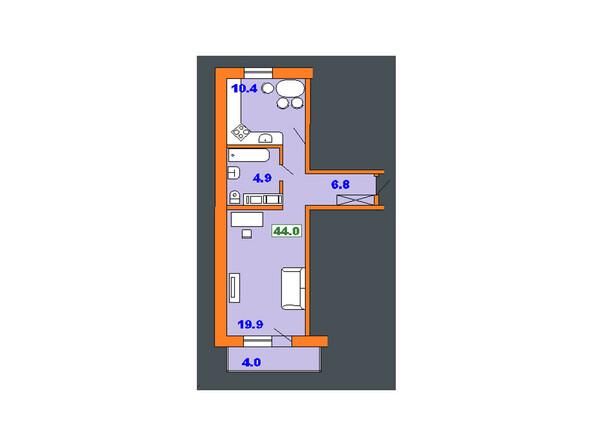Планировки Жилой комплекс НА СОВЕТСКОЙ ж/к, 1 оч - Планировка однокомнатной квартиры 44 кв.м