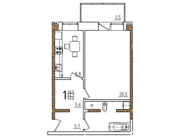 Планировки Жилой комплекс ОНЕГИН Ж/К, б/с 3, 5, 6 - Планировка однокомнатной квартиры 49,6 кв.м
