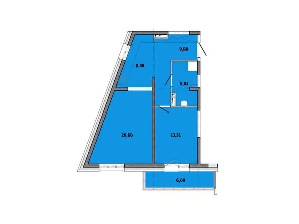 Планировки Жилой комплекс ПРИМОРЬЕ ж/к, б/с 3 - Планировка двухкомнатной квартиры 64,37 кв.м