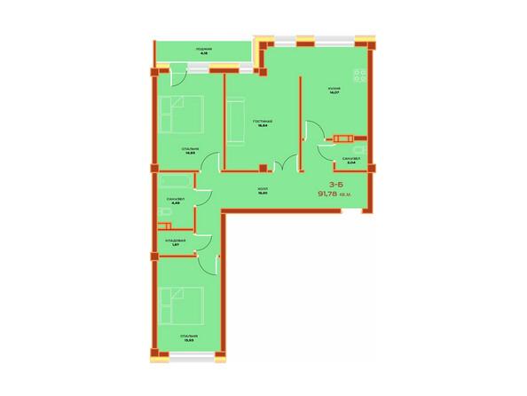 Планировки Жилой комплекс НОВЫЙ ВЕК ж/к, 3 оч, б/с 9 - Планировка трехкомнатной квартиры 91,78 кв.м