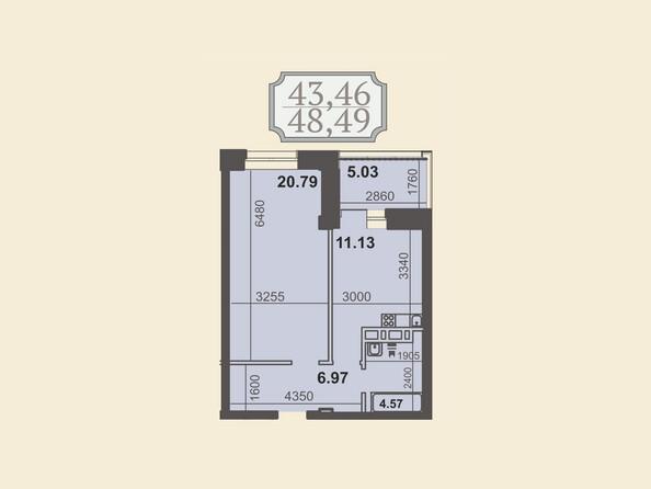 Планировки Жилой комплекс КЛУБНЫЙ ДОМ НА ЗВЕЗДИНСКОЙ - Планировка однокомнатной квартиры 48,49 кв.м