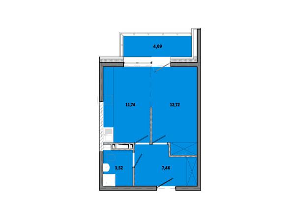 Планировки Жилой комплекс ПРИМОРЬЕ ж/к, б/с 3 - Планировка однокомнатной квартиры 40,13 кв.м