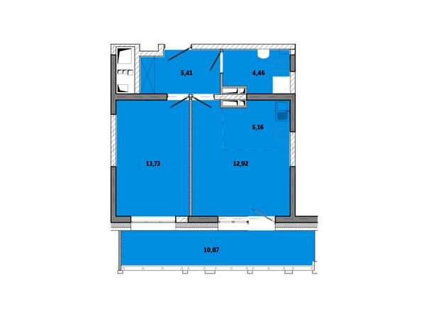 Планировки новостроек ПРИМОРЬЕ ж/к, б/с 2 - Планировка двухкомнатной квартиры 52,55 кв.м