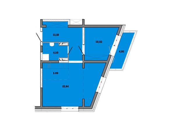 Планировки новостроек ПРИМОРЬЕ ж/к, б/с 2 - Планировка двухкомнатной квартиры 59,15 кв.м