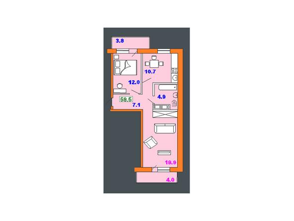 Планировки Жилой комплекс НА СОВЕТСКОЙ ж/к, 2 оч - Планировка двухкомнатной квартиры 58,5 кв.м