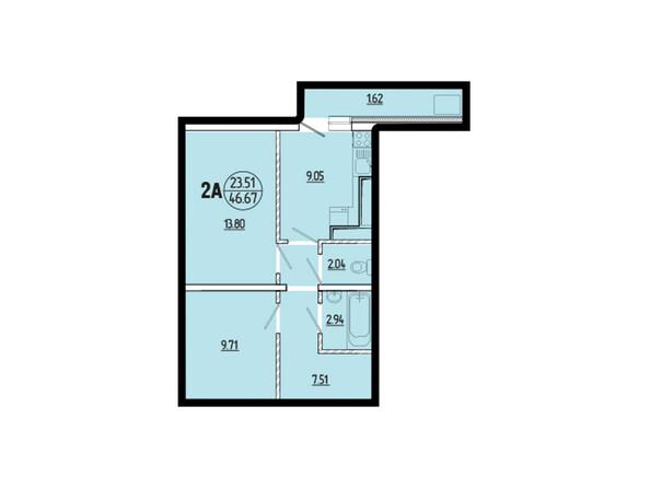 Планировки новостроек ЭВОЛЮЦИЯ ж/к, 1 оч, б/с 1-9 - Планировка двухкомнатной квартиры 46,67 кв.м