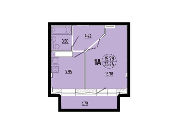 Планировки новостроек ЭВОЛЮЦИЯ ж/к, 1 оч, б/с 1-11 - Планировка однокомнатной квартиры 33,44 кв.м