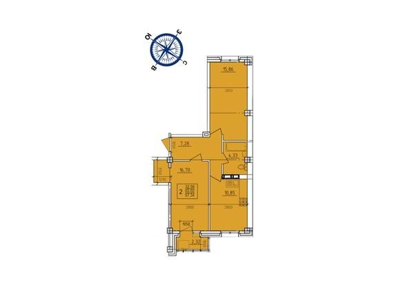 Планировки новостроек ИРКУТСКИЙ ДВОРИК-2 ж/к,  б/с 1-3 - Планировка двухкомнатной квартиры 57,34 кв.м