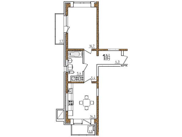Планировки Жилой комплекс ОНЕГИН Ж/К, б/с 1, 2 - Планировка однокомнатной квартиры 49,3 кв.м