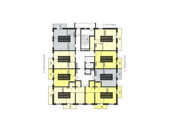 Планировки новостроек КВАРТАЛ ж/к, 1 оч, б/с 1, 2 - Планировка 11-17 этажей
