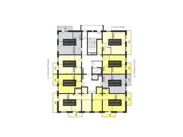 Планировки Жилой комплекс КВАРТАЛ ж/к, 1 оч, б/с 4 - Планировка 9-10 этажей