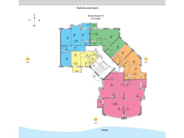 Планировки Жилой комплекс СИМВОЛ ж/к, 3 оч, б/с 16 - 16 блок-секция. Планировка 6-9 этажей