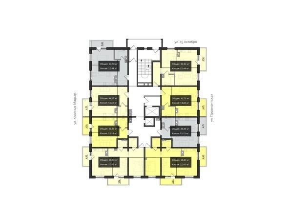 Планировки Жилой комплекс КВАРТАЛ ж/к, 2 оч, б/с 3 - Планировка 3-6 этажей
