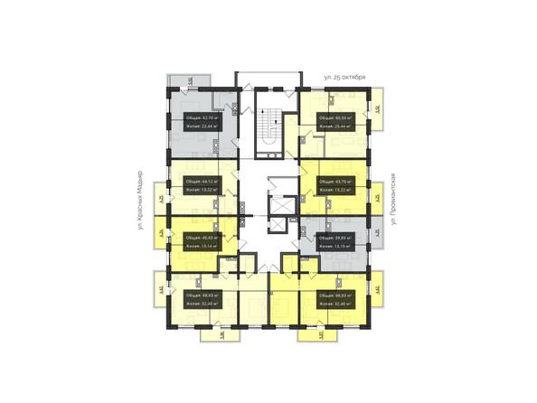 Планировки Жилой комплекс КВАРТАЛ ж/к, 1 оч, б/с 4 - Планировка 2-6 этажей