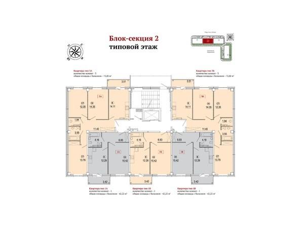 Планировки Жилой комплекс РЕКОРД ж/к, 1 этап, б/с 1-3 - Блок-секция 2. Планировка типового этажа