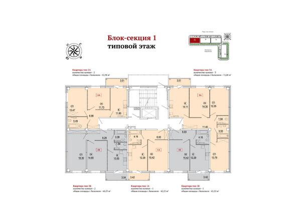 Планировки Жилой комплекс РЕКОРД ж/к, 1 этап, б/с 1-3 - Блок-секция 1. Планировка типового этажа