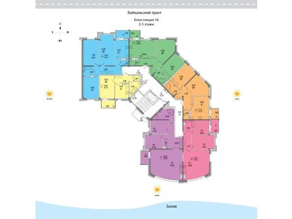 Планировки Жилой комплекс СИМВОЛ ж/к, 3 оч, б/с 16 - 16 блок-секция. Планировка 2-5 этажей
