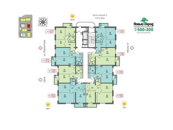 Планировки Жилой комплекс АТМОСФЕРА ж/к, б/с 3 - Блок-секция 3. Планировка 3-9 этажей