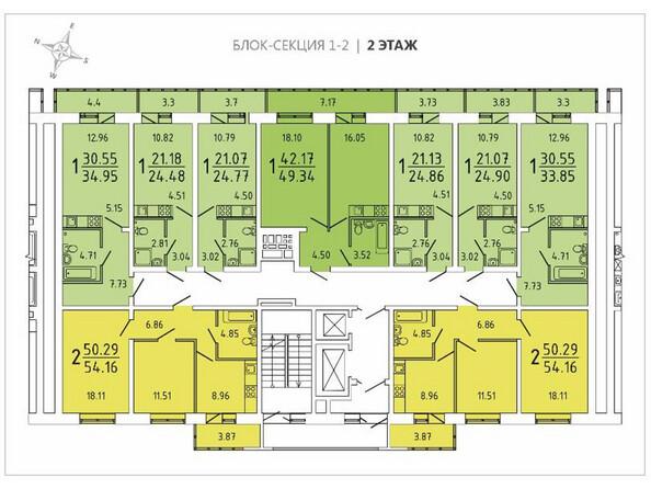Планировки Жилой комплекс ИЗУМРУД ж/к, 1 оч, б/с 1, 2, 3 - Блок-секция 1-2. Планировка 2 этажа
