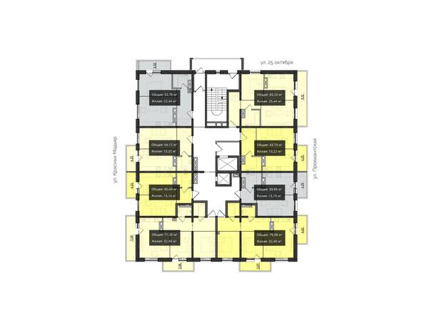 Планировки Жилой комплекс КВАРТАЛ ж/к, 1 оч, б/с 4 - Планировка 11-17 этажей