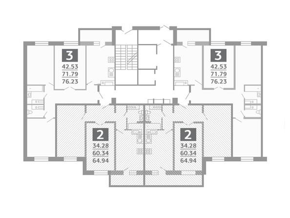 Планировки Жилой комплекс БАЙКАЛЬСКИЙ ФОРТ ж/к, б/с 1, 2 - Типовой этаж