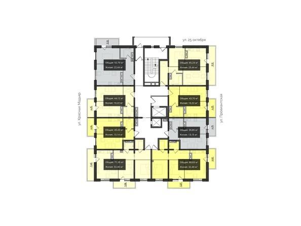 Планировки Жилой комплекс КВАРТАЛ ж/к, 2 оч, б/с 3 - Планировка 9-10 этажей
