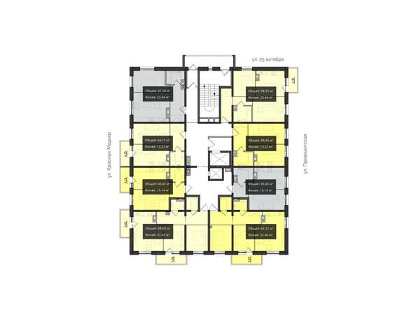 Планировки новостроек КВАРТАЛ ж/к, 1 оч, б/с 1, 2 - Планировка 2 этажа