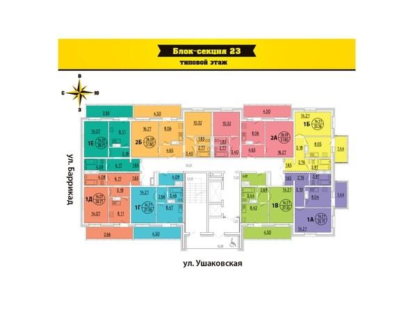 Планировки Жилой комплекс ПРЕДМЕСТЬЕ Ж/К, б/с 23, 24 - Блок-секция 23. Планировка типового этажа