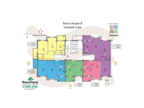 Планировки Жилой комплекс СИМВОЛ ж/к, 2 оч, б/с 8-11 - Блок-секция 8. Планировка типового этажа