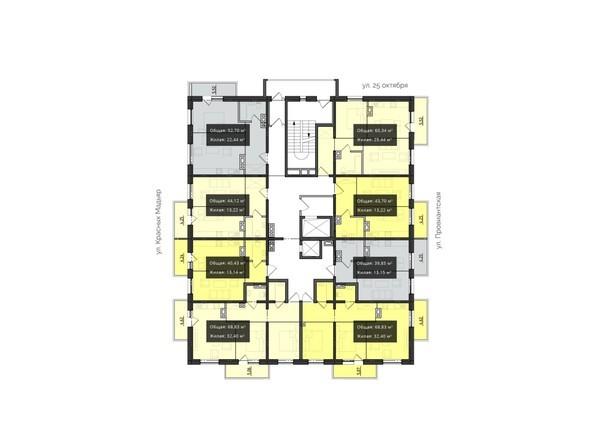 Планировки новостроек КВАРТАЛ ж/к, 1 оч, б/с 1, 2 - Планировка 3-6 этажей