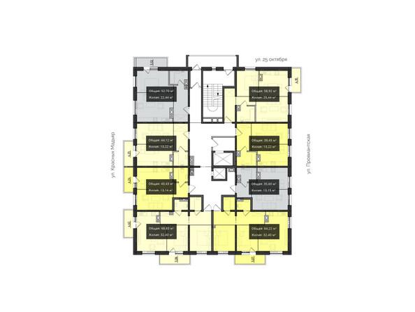 Планировки Жилой комплекс КВАРТАЛ ж/к, 2 оч, б/с 3 - Планировка 2 этажа