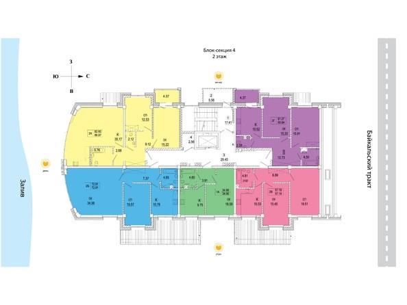 Планировки новостроек СИМВОЛ ж/к, 1 оч, б/с 1-4 - Блок-секция 4. Планировка 2 этажа